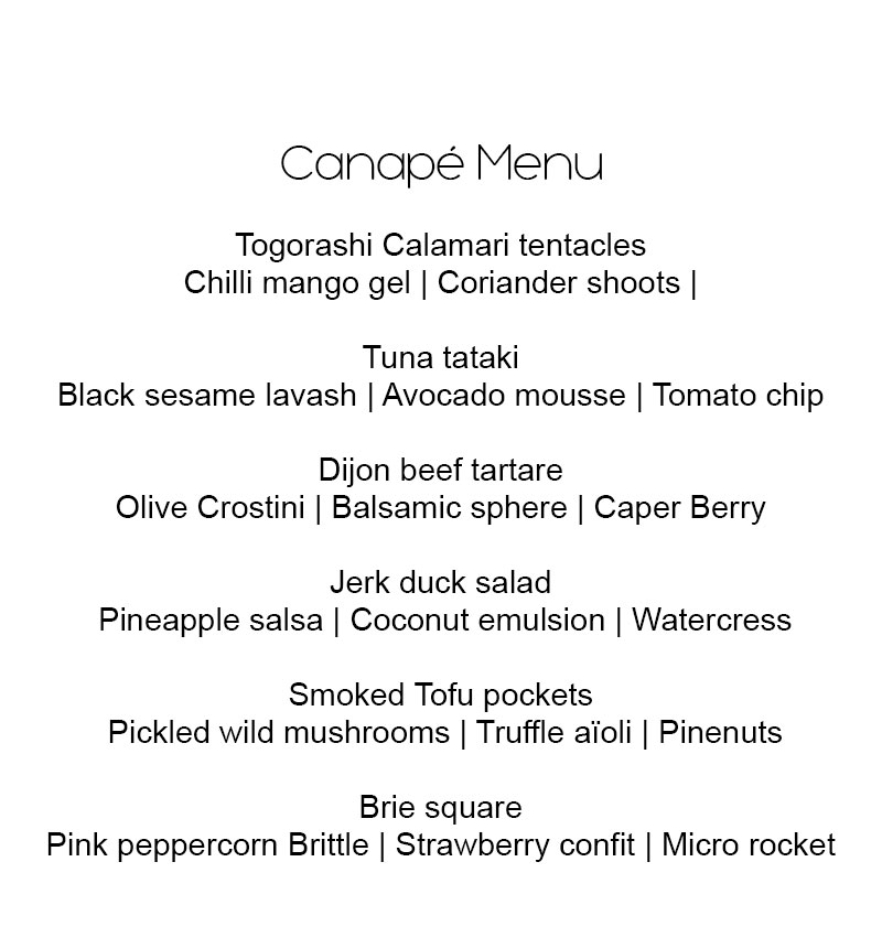 Fine dining menu for Canape examples